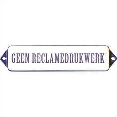 Tekstbordje: Geen reclamedrukwerk Identity wit / blauw   Poppers Wallebroek B.V.