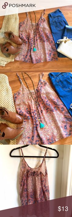 Dusty Rose floral chiffon tank top. Dusty mauve floral tank top, chiffon material. Perfect for layering in the fall. Beautiful colors, great condition. Stretchy back detail to accommodate bust. Adorable with boots and a cardigan. OPEN TO OFFERS! DISCOUNTS ON BUNDLES! Tops