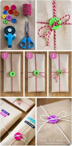 Here's a cute little way to quickly dress up a plain package. Just tie it off with a button. Bags of misc. buttons are cheap, too! ...