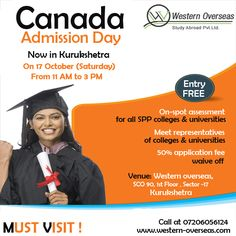 A ‪Big‬ Announcement For #Kurukshetra - Canada Admission Day on ‪Tomorrow‬ at Western Overseas ‪Kurukshetra‬ - Meet #Canada ‪College‬ & ‪University‬ Representative Directly From 11 AM To 03 PM - Free Entry