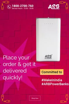 Place Your Order..Get it Delivered Quickly!!  #ARBPowerBank #PowerBank #MakeInIndia  Grab Now@ http://www.arbpowerbank.com/