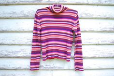 90s Vintage Rainbow Top Turtleneck Knitted by GamineRagVintage
