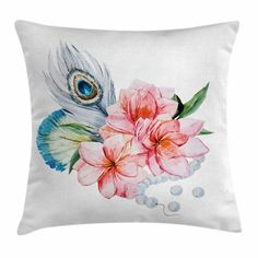 East Urban Home Shabby Elegance Decor Peony Peacock Square Pillow Cover Size: Pillow Inspiration, Pillow Ideas, Decorative Throw Pillows, Decor Pillows, Anemone Flower, Flowers, Shabby Chic Decor, Throw Pillow Covers, Accent Pillows