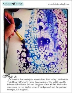 lace resist technique:  lay lace or cloth doiley on your paper, spray krylon clear gloss spray through the lace, paint with watercolor. by elva