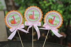 Girl / 1st Birthday Little Pumpkin Centerpiece Sticks.  Set of 6.  Pink, Orange and Green party decoration.  Fall Harvest.  Any Age. by CharmingTouchParties on Etsy