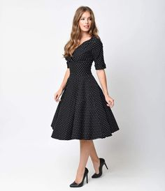Let Delores get domestic with you, darling. A bewitching black and white polka dot dress rich in 1950s vintage appeal fresh from Unique Vintage, Delores is unparalleled! Boasting a gathered surplice v-neckline, trim and tailored half sleeves with darling