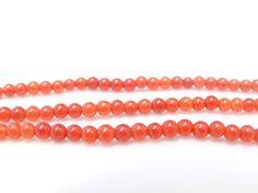Perles rondes en Agate Orange - 4 mm -