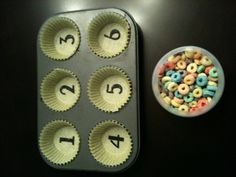 For the Love of Learning: DIY Counting Activity - Simple & Educational Love the. - For the Love of Learning: DIY Counting Activity – Simple & Educational Love the idea of muffin t - Preschool Learning Activities, Fun Learning, Toddler Activities, Kindergarten Math Wall, Activities For 3 Year Olds, Letter Sound Activities, Quiet Time Activities, Space Activities, Preschool Lessons