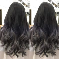 Ideas hair silver ombre balayage for 2019 Best Ombre Hair, Brown Ombre Hair, Ombre Hair Color, Cool Hair Color, Silver Ombre, Asian Ombre Hair, Ombre Hair For Asians, Asian Ash Brown Hair, Black And Silver Hair