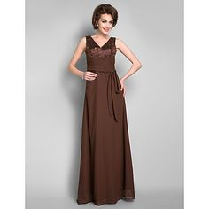 Sheath/Column V-neck Floor-length Chiffon Mother of the Bride Dress With Removable Belt – USD $ 146.99