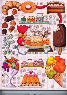 Cakes Candy Dessert Dinosaurs and Bathroom Cross Stitch