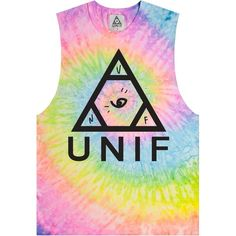 UNIF LOGO ($62) ❤ liked on Polyvore featuring tops, shirts, tank tops, tie dyed shirts, tiedie shirts, shirts & tops, tye dye shirts e sleeveless tops