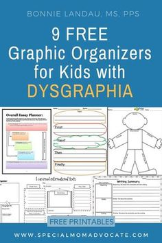9 Free Graphic Organizers for Kids with Dysgraphia. Free printables to help students who struggle with writing. Dyslexia Activities, Learning Disabilities, Handwriting Activities, Literacy Activities, Vocabulary Graphic Organizer, Writing Graphic Organizers, Essay Planner, Writing Anchor Charts, Writing Strategies