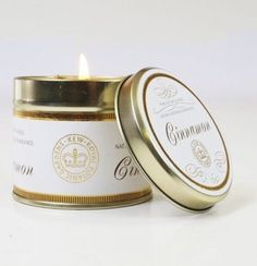 Cinnamon Canova Candle In Tin: Bring the natural botanical fragrance of the Royal Botanic Gardens of Kew into your home with this cinnamon candle. Inspired by the wealth of living plant collections at Kew; each candle creates a pure & complex aroma. Soy Wax Candles, Scented Candles, Candle Jars, Organic Candles, Tea Lights, Tin, Coconut, Pure Products, Bergamot