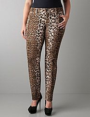 This season's wildest jean by Seven7 gives you a chic slim fit and bold leopard print. Curve-hugging silhouette is just right paired with trendy tanks and tunics for hot night-out style that turns heads.  Five-pocket style with button & zip fly closure and belt loops. Seven7 logo patch completes the look. lanebryant.com