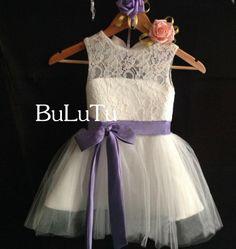 purple sash key hole back Ivory lace tulle dress flower girl dress Junior Bridesmaid Baptism Infant Toddler Dress