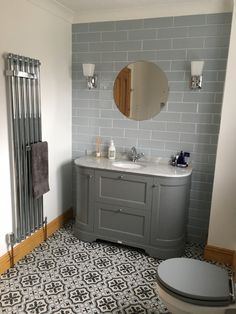 Grey with grey marble Tiles from Topps Tiles. Bathroom Vanity Units, Bathroom Faucets, Small Bathroom, Bathroom Ideas, Bathroom Laundry, Attic Bathroom, Master Bathrooms, Downstairs Bathroom, Bathroom Designs