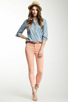 Best trends for Chambray + peach - cute spring outfit, posted on February 2014 in Outfits Peach Jeans, Peach Shirt, Pink Jeans, Cute Spring Outfits, Cute Outfits, Casual Outfits, Fashion Outfits, Womens Fashion, Denim Fashion
