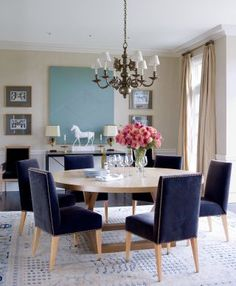 Traditional Dining Room, Velvet Accents by Victoria Hagan in Southport, Connecticut