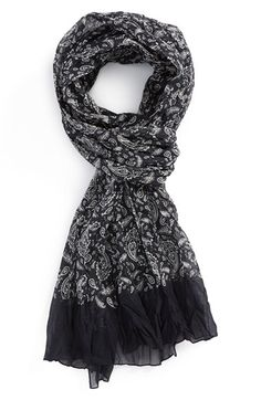 Men's The Kooples Paisley Print Silk & Cotton Scarf - Black