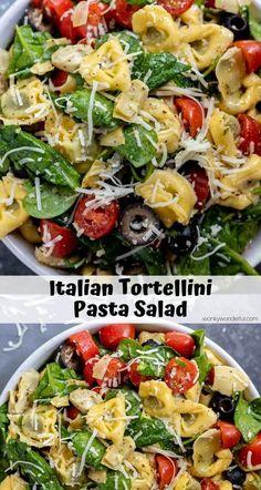 This Italian Tortellini Pasta Salad Recipe is great for summer barbecues, potluc. - This Italian Tortellini Pasta Salad Recipe is great for summer barbecues, potluc… – The Best Re - Mayo Pasta Salad Recipes, Vegetarian Pasta Salad, Pasta Salad Italian, Spinach Salad Recipes, Easy Salads, Healthy Salad Recipes, Spinach Pasta Salads, Healthy Potluck, Pasta Salad With Tortellini