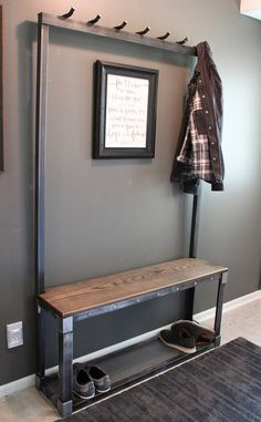 Made of raw steel and wood this narrow industrial hall tree is a great addition to any entryway or hallway. Function and beauty all in once piece its perfect for keeping coats, bags, and shoes organized. This handmade item can be built to your specifications. The pictured rack Tree Coat Rack, Entryway Bench, Hall Bench, Foyer Bench, Entry Bench
