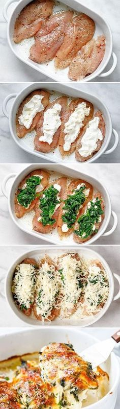 Spinach Chicken Casserole with Cream Cheese and Mozzarella - All of the delicious flavors of cream cheese, spinach, and chicken are packed into this delicious dinner recipe! dinner cheese Spinach Chicken Casserole with Cream Cheese and Mozzarella Delicious Dinner Recipes, Appetizer Recipes, Yummy Food, Tasty, Yummy Recipes, Greek Recipes, Mexican Recipes, Cheese Recipes, Lunch Recipes