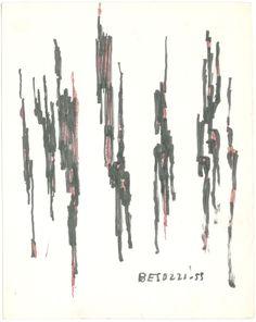 E. Besozzi pitt. 1959 Forme vegetali pennarello e e biro su carta cm. 14,1x11,3 arc. 663