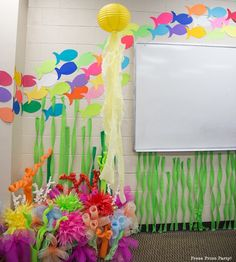 Under the sea bulletin board made w pool noodles spray for Oakville high school craft fair