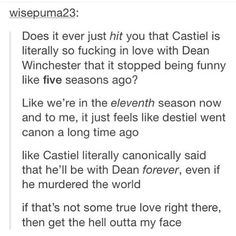 Plus it was canon that Dean said he loved Castiel. Let's not forget that.