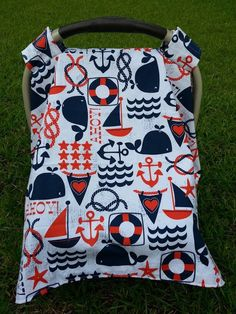Nautical Car Seat Cover! Love this theme! Baby Car Seat Cover in Adorable Nautical by jennypennydesigns
