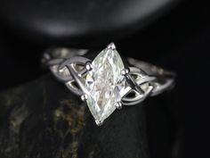 Mara White Gold Marquise FB Moissanite Celtic Knot Engagement Ring (Other Metals and Stone Options Available) Diamond Gemstone, Diamond Rings, Amanda, Celtic Knot Jewelry, Round Halo Engagement Rings, Princess Cut Rings, Metal Jewelry, Jewelry Rings, Jewellery