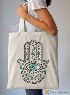 Hamsa hand tote bag-mehndi tote-boho hand tote by naturapicta