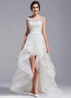 Corte A/Princesa Escote redondo Asimétrico Tul Encaje Vestido de novia con Bordado Flores