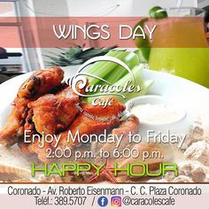 "WINGS DAY TODAY AT CARACOLES CAFE 🍗🍗 ¡WE'LL BE WAITING FOR YOU! ""HAPPY HOUR FROM 2PM TO 6PM REFRESHING COCKTAILS"" CALL FOR RESERVATIONS 📲 #coronado #Panamá #caracolescafe #wingsday #cocktails #restaurantespanama #coronadobeach #restaurantescoronado #gourmet #chef #coronadofood #foodpty #food507 #comidaamericana #comidatipicapanameña #instagram #instacool #instagood #likeforlike #likeforfollow #like4follow #sandiegoconnection #sdlocals #coronadolocals - posted by Caracoles Café…"
