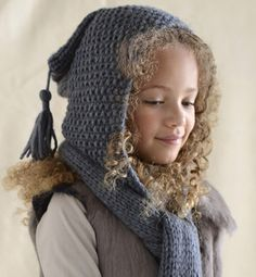 Modèle écharpe - capuche 2 en 1 - Modèles tricot enfant - Phildar // no idea what it says but it's cute! Can't find the pattern - shame! Knitting For Kids, Baby Knitting, Knit Crochet, Crochet Hats, Hooded Scarf, Beautiful Children, Baby Hats, Knitted Hats, Knitting Patterns