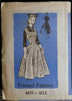Vintage 50s Sewing Pattern Jumper or Summer Dress & Blouse Mail Order Printed Pattern 4635 Sz 15