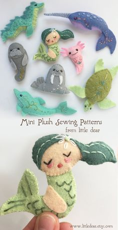 Sewing hacks - Swimmers mini felt plush sewing patterns from little dear feltanimals sewingpattern feltpattern Stoff Design, Felt Diy, Sewing Crafts, Sewing Tips, Sewing Tutorials, Sewing Hacks, Sewing Projects For Beginners, Felt Christmas, Felt Animals