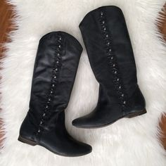 MIA Limited Edition Boot, Black Leather Cute boots by MIA.% leather...studded detail with black leather upper. Color is not a true pitch black, looks like dark charcoal. This boot is brand new, never worn. True to size. No box. MIA Shoes