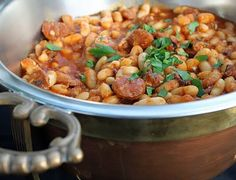 White Beans and Linguica Sausage