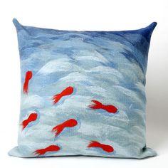 Liora Manne Goldfish Square Indoor/Outdoor Pillow in Aqua