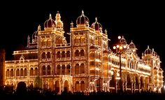 Mysore Palace--very similar to the palace at Aurilien, and this is how it's lit up at night.