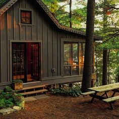 Likes, 28 Comments - The A. Mercantile+Outfitters (American Hatfield) on. Likes, 28 Tiny House Cabin, Cabin Homes, Haus Am See, Building A Shed, Building Plans, Building Design, Little Cabin, Cabins In The Woods, Cabin On The Lake