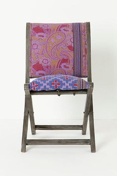 Folding chairs get a style upgrade with fabric that looks like it could have been cut from vintage kantha quilts. 198