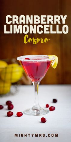 Cranberry Limoncello Cosmo - A refreshing fun and easy happy hour or girl's night cocktail! The pretty pink color makes it a perfect drink for baby or wedding showers too. This recipe uses lemoncello vodka and cranberry juice with a sugar rim so it's no Party Drinks, Cocktail Drinks, Fun Drinks, Alcoholic Drinks, Beverages, Cocktail Night, Drinks Alcohol, Limoncello Cocktails, Cocktail