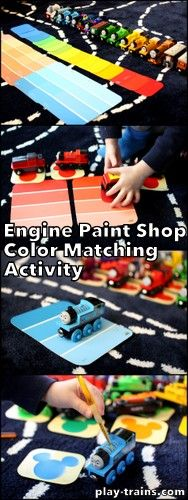 """Start this fun color matching activity for little train lovers off with a trip to the home improvement store to """"shop"""" for """"paint""""! It's also a nice, free way to take train pretend play in a new direction. Train Activities, Color Activities, Educational Activities, Learning Activities, Preschool Activities, Preschool Colors, Preschool Kindergarten, Toddler Fun, Toddler Preschool"""