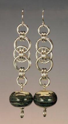 Chainmail Earrings Sterling Silver Artisan Porcelain Bead Teal