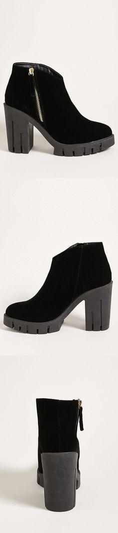 Velvet Lug Ankle Boots // 48.00 USD // Forever 21