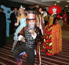 Alice in Wonderland character meet and greet guests at this spectacular corporate event. Mad Hatter lookalike, Red Queen, Alice and the Mad March Hare.