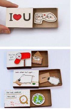 35 homemade valentine gift ideas for him 35 homemade valentine . - 35 homemade valentine& day gift ideas for him 35 homemade valentine& day gift ideas for - Cute Crafts, Diy And Crafts, Paper Crafts, Diy Birthday, Birthday Gifts, Funny Birthday, Valentines Bricolage, Matchbox Crafts, Matchbox Art